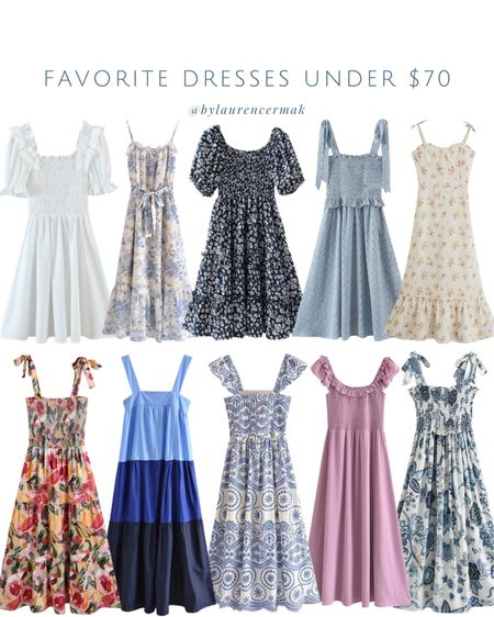 {Favorite Dresses Under $70} Run, don't walk 🏃🏻♀️ All of these finds are 30% off right now making them super affordable! To shop, click the link in my profile or you can shop by screenshot in the @liketoknow.it app! #liketkit #LTKunder100 #LTKwedding #LTKunder50 http://liketk.it/3hjZD