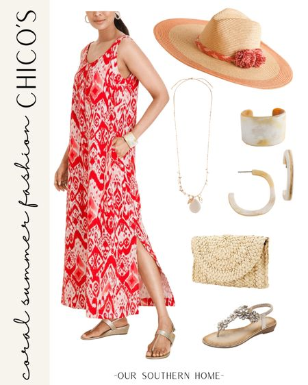 This coral maxi dress with ikat pattern from Chico's is perfect for summer with the gauze fabric and side slits! Pair it with a fun straw hat, horn accessories and straw clutch. http://liketk.it/3gslP #liketkit @liketoknow.it #LTKunder100 #LTKstyletip You can instantly shop my looks by following me on the LIKEtoKNOW.it shopping app