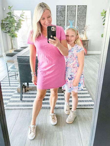 Love this pink $15 T-shirt dress with these metallic Sperry sneakers. Also linked a similar girls Lilly Pulitzer T-shirt dress. Size small dress. Target style Sperrys girls dresses summer dress   #LTKSeasonal #LTKkids #LTKunder50