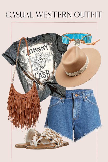 Casual Western inspired outfit, band tee, Amazon finds, graphic tee, high waisted shorts, fringe bag http://liketk.it/3ihhk @liketoknow.it #liketkit #LTKunder50 #LTKunder100