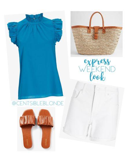 Express outfit, short sleeve ruffle top, white jean shorts, white denim, cognac sandals, beach tote, straw bag, slide sandals.   http://liketk.it/3hu67 #liketkit @liketoknow.it #LTKshoecrush #LTKtravel #LTKsalealert
