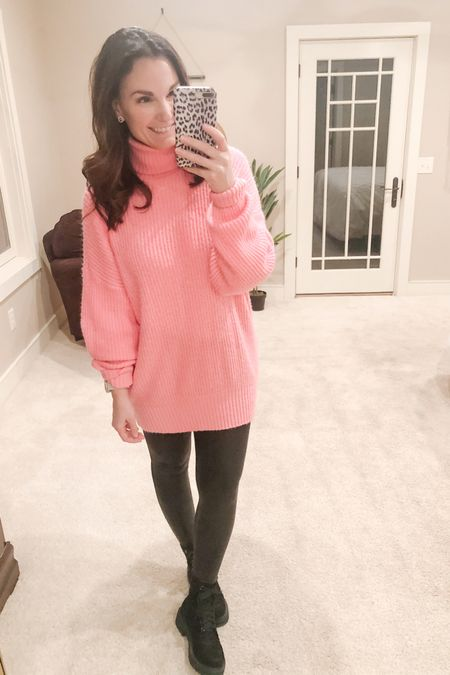 It's Valentine's week so I'm wearing pink or red every day! Today I went with my bright pink oversized sweater which you can order your true size in and my solid faux leather leggings, order one size up in, and my combat boots which are true to size. The perfect, freezing cold, Monday outfit!   http://liketk.it/37UFC #liketkit @liketoknow.it   You can instantly shop all of my looks by following me on the LIKEtoKNOW.it shopping app