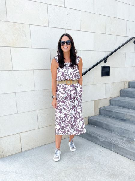 Another way to wear a maxi - belted with sneakers.  Maxi - I sized down one size  Sneakers TTS   #LTKstyletip #LTKshoecrush #LTKunder50