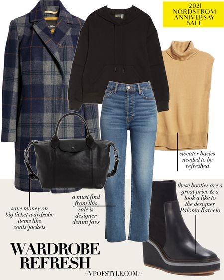 Nordstrom anniversary fall outfit ideas. Fall coats. Plaid coats. Fall denim styles. Fall boots. Wedge boot. Black booties. Fall sweaters. Hoodie designer denim sale http://liketk.it/3jJ2m #liketkit @liketoknow.it #LTKsalealert #LTKstyletip #LTKunder100