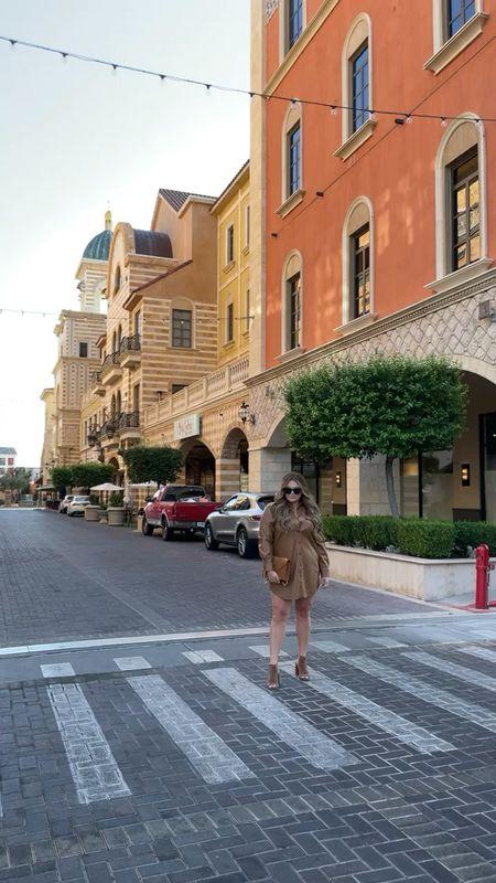 curvy fall outfit! wearing size xl in camel faux leather dress   #LTKcurves #LTKunder100 #LTKSeasonal