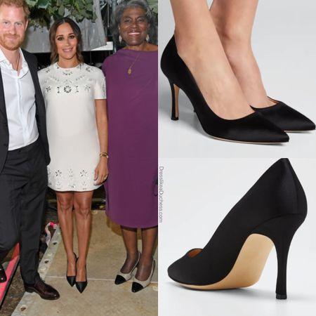 Meghan wearing Manolo 105 satin pumps #heels #work #pumps #shoes  #LTKshoecrush #LTKworkwear