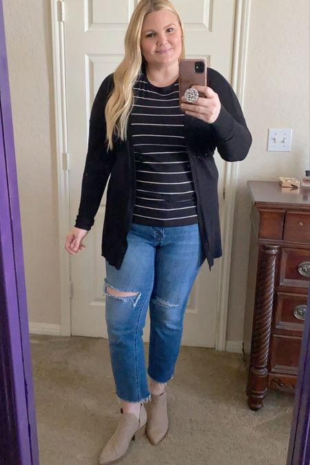 Target finds! Striped t-shirt- size up. Jeans- Kut from the Kloth, size down if between sizes. Booties are true to size.    #LTKunder50 #LTKcurves #LTKstyletip