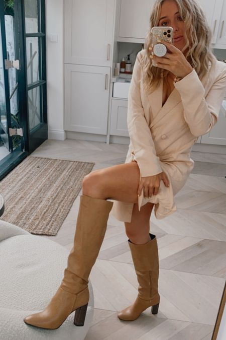 Knee high boots - leather boots - nude boots - over the knee boots - thigh high boots - blazer dress - suit dress - double breasted blazer dress - autumn style - autumn fashion - autumn outfit - fall outfit - fall style - asos boohoo - brown boots - nude leather boots - cream jacket - autumn jacket - fall jacket   #LTKsalealert #LTKshoecrush #LTKHoliday