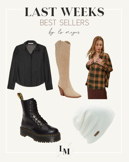 Last weeks best sellers // backcountry beanie on sale with code LOMEYER15 🙌🏼 Flannel button up shirt doc marten boots