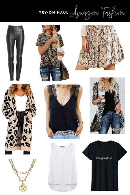 Amazon Fashion Fall Transition Pieces Try Om Haul - Great items to transition your outfits from Summer to Fall! http://liketk.it/2Ebjq #liketkit @liketoknow.it Gold Coin Necklace, Leopard Print Tee, Snake Skin Skirt, Lace Cami, Lace Trim Cami, Lace Tank Top, Faux Leather Leggings, Spanx Dupes, Leopard Cardigan, Leopard Sweater, White Lace Tank