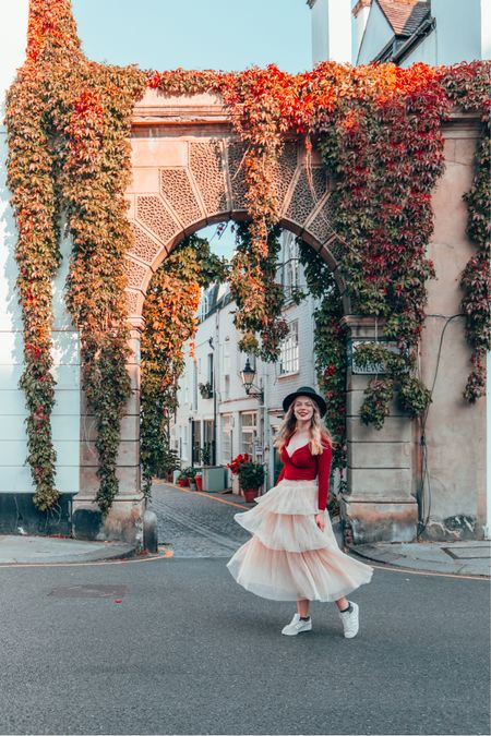 Deep burgundy wrap top  Chiffon tulle cream tiered skirt    #LTKunder50 #LTKsalealert #LTKeurope