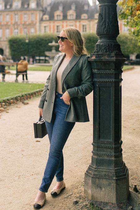 Plaid blazer (6) and high waisted jeans in paris