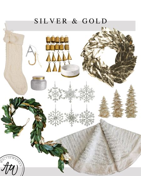 Silver and gold Christmas decor, Amazon home finds, Amazon Christmas decor, knit stocking, initial ornaments, gold bells, marble bowl, kitchen decor, snowflake ornaments, faux magnolia garland, tree skirt, gold Christmas trees, gold wreath, front door, entryway, table decor, living room, coffee table, ottoman   #LTKHoliday #LTKhome