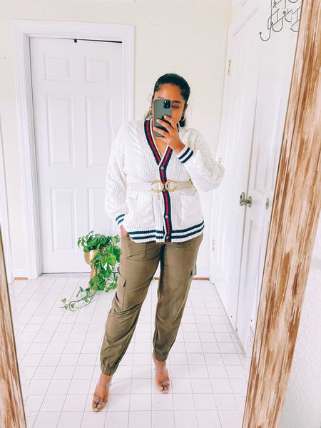 Chic outfit, fall chic outfit, holiday look, workwear, American eagle cardigan, fall tends, schutz heels, cargo joggers, fall style, curvy blogger, banana republic factory   #LTKunder50 #LTKSeasonal #LTKcurves
