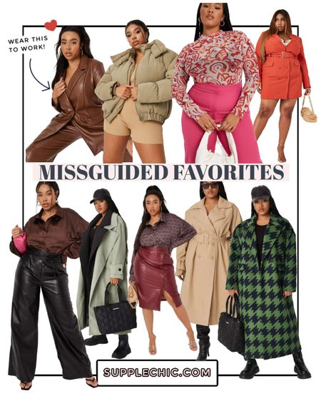 Fall and winter #plusssize favorites on sale at missguided ft leather blazer jacket , trench coat, wide leg leather pants and cropped puffer coat   #LTKSale #LTKDay #LTKcurves