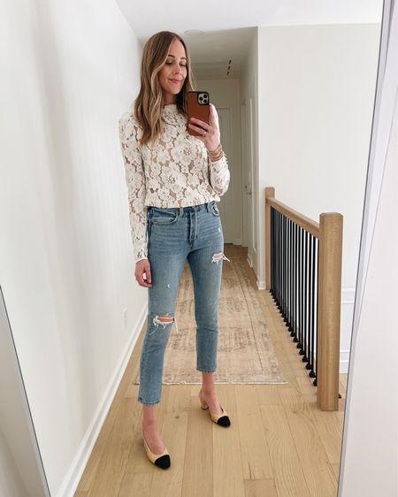 White lace top (tts) Levi's 501 ripped skinny jeans (tts) Chanel slingbacks #falloutfit #levis   #LTKshoecrush #LTKstyletip #LTKunder100
