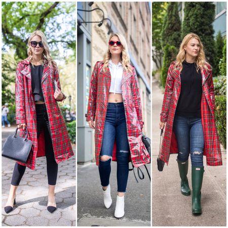 Red Plaid Rain Jacket | Tartan Jacket | Denim | Hunter Boots | Tall Girl Style | @liketoknow.it http://liketk.it/3aMOo #liketkit #LTKunder100 #LTKstyletip #LTKshoecrush