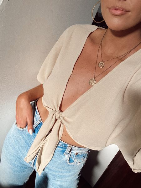 neutral spring and summer style, vacation outfit, beach style, crop top, trendy outfit, high waisted jeans, Abercrombie and Fitch denim, layered gold necklace, accessories, tan, hoop earrings  amazon finds   #LTKstyletip #LTKSeasonal #LTKunder50