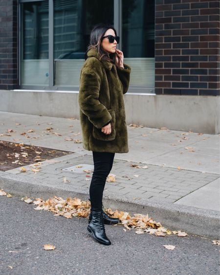 Schutz combat boots. Best petite-friendly combat boots.   Coat - Topshop petite xs Jeans - Topshop petite 25 Boots - Schutz 5 Sunglasses - Quay  http://liketk.it/37mOt #liketkit @liketoknow.it