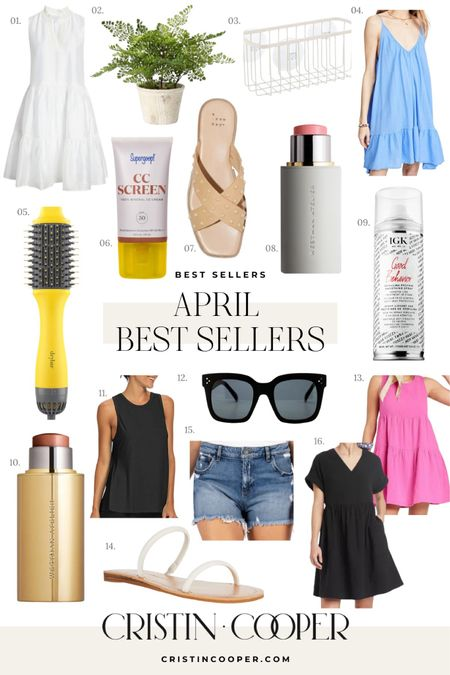 April Best Sellers // Dress // Faux Plant // Shower Caddy // CC Screen // Blowout Brush // Sandals // Blush // Heat Protectant // Highlighter // Jean Shorts // Workout Tank // Sunglasses http://liketk.it/3gkyx #liketkit @liketoknow.it