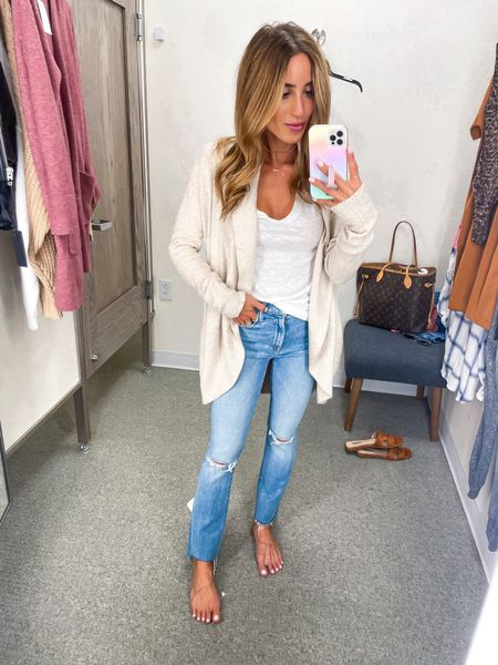 Cardigan and tee size Xs, Jeans size 24   #LTKunder100 #LTKsalealert #LTKunder50