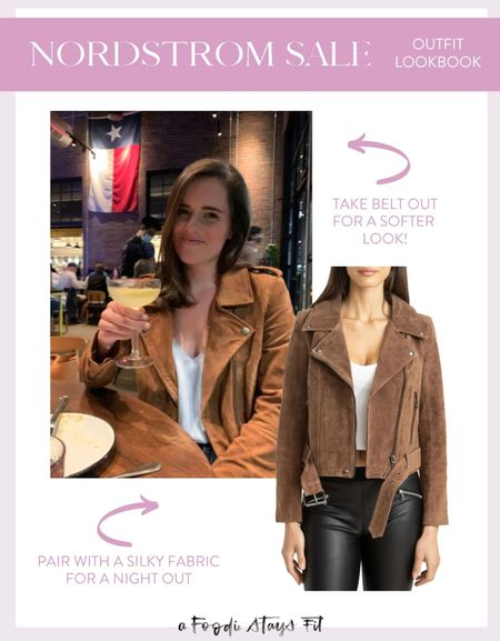 A current top seller from the Nordstrom anniversary sale as the suede Moto jacket! It comes in two colors, but my favorite is this brown color that Hannah has. She recommends taking the belt out of the bottom to make it a little bit less edgy, and pairing with dark wash jeans and heeled booties.   #LTKsalealert #LTKunder100 #LTKstyletip