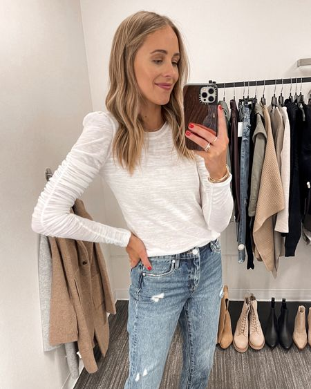 I love the detail on this white free people shirt. The ruching is such a fun way to dress up a basic white tee. It's a little sheer but with a nude bra, it's not noticeable. Wear an XS - fits TTS. #nsale #nordstromanniversarysale #nordstromsale #nordstrom #freepeople #liketkit  #LTKsalealert #LTKunder100 #LTKunder50