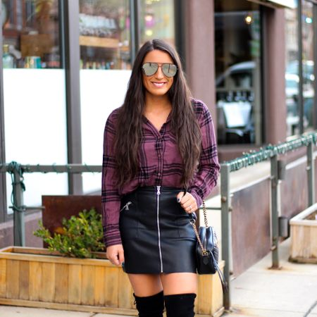 Happy Friday eve!✨ It's been a long day, but at least this week is almost over.💕 And a huge bonus, my whole outfit is on sale!🎉 My flannel shirt and vegan leather skirt are both 30% off!🖤 Even better, my Stuart Weitzman boots are 40% off and free shipping!🙌🏽  You can instantly shop my looks by following me on the LIKEtoKNOW.it shopping app   http://liketk.it/2HQQG @liketoknow.it #liketkit #LTKholidaystyle #LTKsalealert #LTKunder50