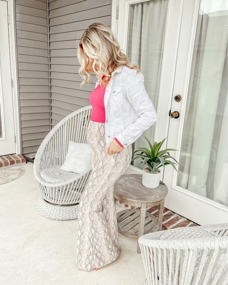 Maternity Pants | White Denim Jacket | Amazon Finds | Amazon Prime | Pregnancy Outfit | Egg chair | Outdoor Furniture | Maternity Outfit @liketoknow.it #liketkit http://liketk.it/3aSXH