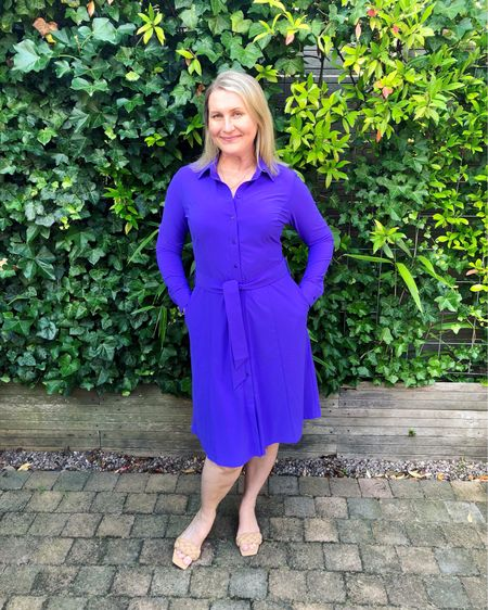 """Studio Anneloes button-down shirtdress """"Mindy"""" in striking purple 💜 Tie belt from the same fabric and side pockets. Knee length and long sleeves. Super flattering cut in comfortable no-iron travel quality lycra. True to size, I am wearing an M. Available at De Bijenkorf 💜  #blousedress #shirtdress #workdress #purpledress #travelquality #dutchfashion #amsterdamfashion   #LTKeurope #LTKworkwear #LTKstyletip"""