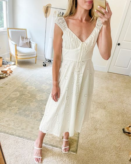 This white midi dress of my favorite Amazon finds of the last few months ✨ Love the off shoulder dress detail 🤍 More Amazon fashion favorites and Amazon summer fashion on natalieyerger.com. Amazon dress runs true to size, more Amazon dresses and white summer dresses linked!  #amazonfinds #amazondress #amazondresses #whitesummerdress #whitesummerdresses #whitedressoutfit #whitedressoutfits #amazonfindsfashion #amazonfindssummer #amazonsummerfashion #whitemididress #whitedress #amazonwhitedress #offshoulderdress #eyeletdress #whitedresssummer #amazonoutfits #amazonfashionoutfits   #LTKSeasonal #LTKwedding #LTKstyletip