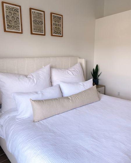 Duvet cover/shams and linen lumbar pillow. Big pillows are RH