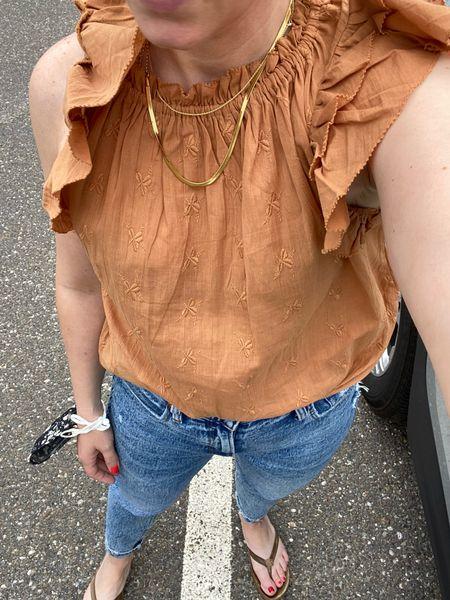Ruffle details and Abercrombie denim.  Hitting all the spring trends in one look   #LTKunder100 #LTKsalealert #LTKstyletip
