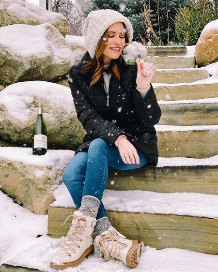 """A crisp white for the crispy air?? Yea, let's go with that.🥂Loving the snow! Ask me in a month if I still feel the same way.😋❄️ ✨ Fell in love with a new (to me) varietal this weekend. This Picpoul from @paulmas is fantastic! Picpoul means """"stings the lip"""", fitting as it does have some zing to it. Lemon, green apple and light floral notes. Saline and citrus notes mingle nicely on the palate. Balanced with bright acidity. #picpoul #frenchwines • • •  http://liketk.it/2J3Dn #liketkit @liketoknow.it"""