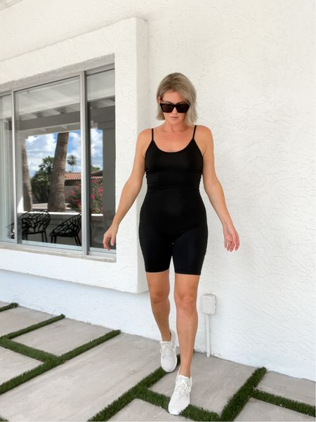 The best bike short catsuit for under $20! I'm wearing a M & I'm a size 6. Fits perfect & has stretch. Sneakers run generous, size down if you are inbetween. Closet staples! #bikeshorts #catsuit #jumpsuit #onesie #onepiece #activeweae #minimal #sunglasses #sneakers #shoes #amazonfashion #founditonamazon #amazonfinds   #LTKshoecrush #LTKunder100 #LTKunder50