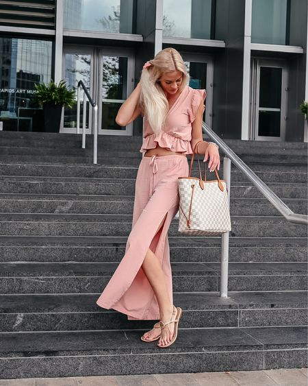I absolutely looooove this set but I do wish I would have gotten it in a different color! I felt just a bit too pale in this light light pink 😳 so I think I'm going to go ahead and order the navy! So cute and super comfy! Follow me on the LIKEtoKNOW.it shopping app to get the product details for this look and others 📲 @liketoknow.it http://liketk.it/3lS8d #liketkit #LTKunder50 #LTKtravel #LTKitbag