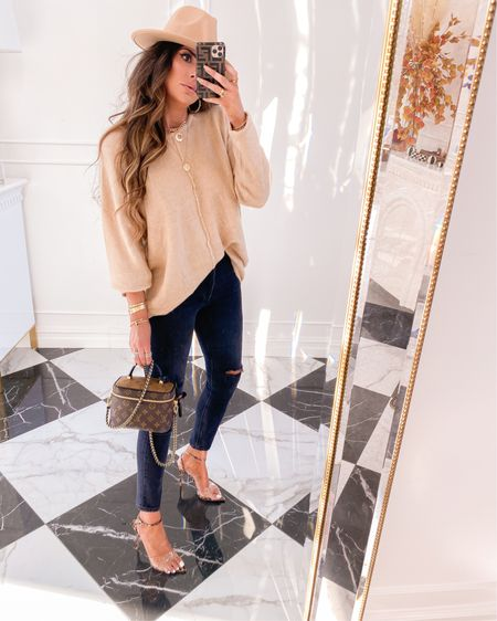 Fall, fall fashion, fall outfits, ripped jeans, emilyanngemma, Emily ann Gemma, sweater, fall sweaters, fall hats, hat, gold jewelry #LTKsalealert #LTKunder50 #LTKstyletip http://liketk.it/2X5lz #liketkit @liketoknow.it