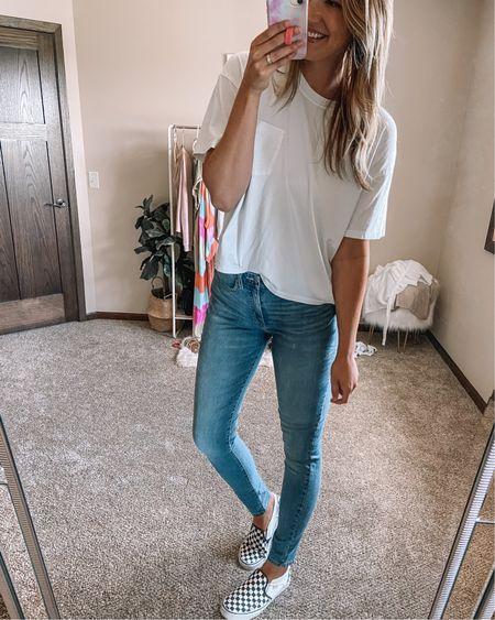 $8 white pocket tee / $25 Levi's jeans 2 vans checkered sneakers Large tee 10 long jeans 11 shoes  #liketkit @liketoknow.it http://liketk.it/3iKcB   #LTKsalealert #LTKstyletip #LTKunder50