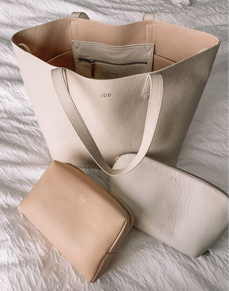 My favorite leather goods! This is the best tote in the Ecru color (I'd recommend caramel, black, or cappuccino for your first tote since they're more wearable). I never have to wipe them down (even Ecru). These are also the best makeup bags and tote organizer!   #LTKunder100 #LTKitbag #LTKstyletip