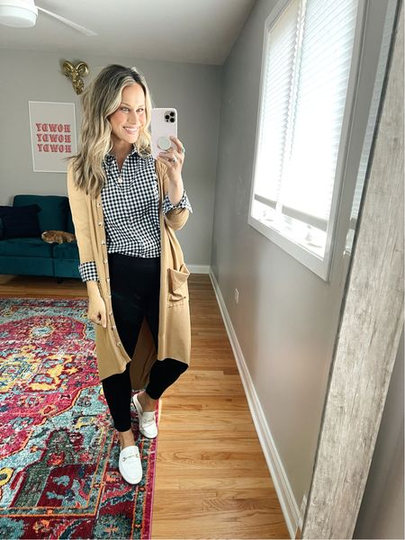 The perfect business casual outfit!!! And all the amazon finds! This long cardigan, button down shirt and mules are all amazon fashion finds! These pants are old but they are the best and so comfy for the office!   #LTKworkwear #LTKunder50 #LTKshoecrush