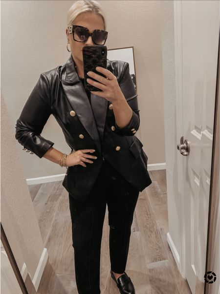 Designer looks for less  Chic polished wear to work outfit Balmain dupe leather blazer Found online at Walmart Express jeans J Crew black loafers             _______            #walmartfinds #jcrew #leatherblazer #looksforless #polishedlook #walmart #walmartfashiom            _________ Travel Nordstrom Sale Amazon Fashion Shein Fashion Walmart Finds Target Trends H&M Fashion Wedding Guest Dresses Plus Size Fashion Wear-to-Work Beach Wear Travel Style #Leeannbenjamin #stylinbyaylin #cellajaneblog #lornaluxe #lucyswhims #amazonfinds #walmartfinds #interiorsesignerella #lolariostyle    Follow my shop on the @shop.LTK app to shop this post and get my exclusive app-only content!  #LTKunder100 #LTKunder50 @shop.ltk http://liketk.it/3kqBV  #LTKworkwear