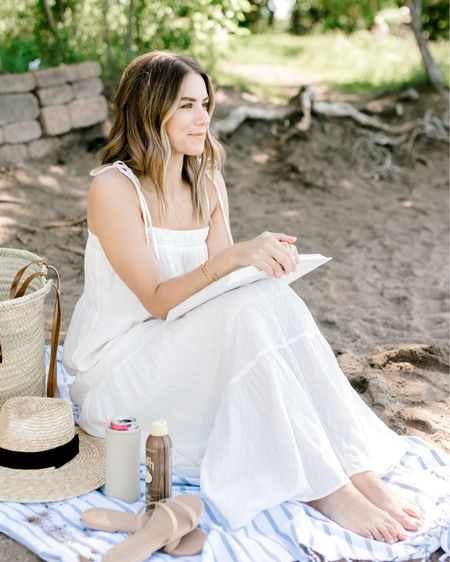 Summer essentials  Picnic blanket Straw hat Straw bag  Maxi dress Beach style http://liketk.it/3h5h6 @liketoknow.it #liketkit #LTKunder100