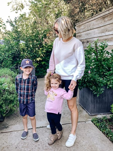 Sweatshirt, Abercrombie,  biker shorts, fall outfit, casual mom outfit, toddler outfit fall   #LTKstyletip #LTKunder50 #LTKfamily
