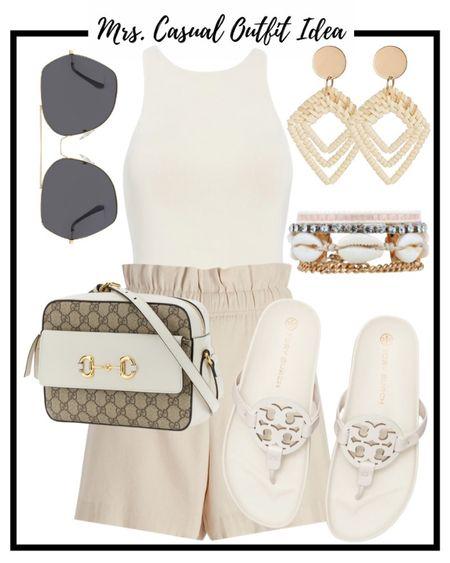 Neutral summer outfit idea 💗 Tory Burch cloud millers  #LTKstyletip #LTKunder50 #LTKunder100