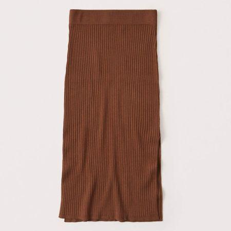 Abercrombie & Fitch Double Side-Slit Sweater Midi Skirt ⚡️  High waist midi skirt in a soft sweater knit fabric with double side-slit detail and an elastic waistband.   http://liketk.it/2SJhQ #liketkit @liketoknow.it #LTKDay #LTKtravel #LTKsalealert