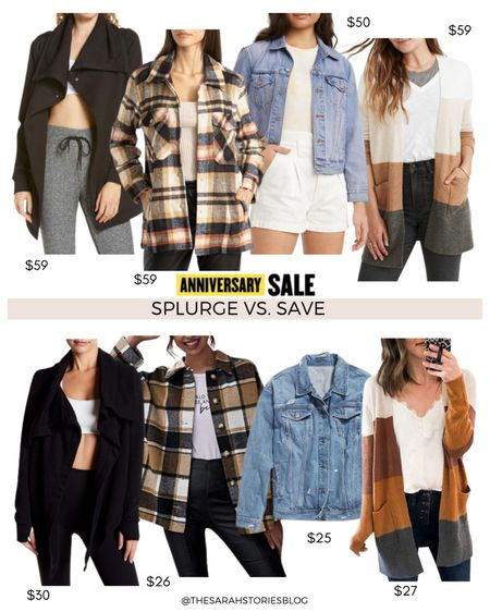 Nordstrom Sale alternatives, #nsale dupes, look for less // Save vs Splurge //wrap jacket, plaid shacket, denim trucker jacket, color block cardigan http://liketk.it/3jXSp #liketkit @liketoknow.it #LTKstyletip #LTKunder100