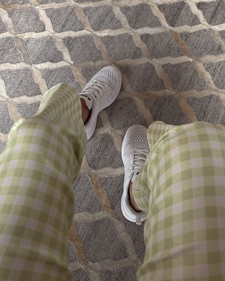 Asos's green and white checkered high waisted cropped flare pants, APL sneakers, casual look, summer ootd, cute on the go outfit, stretchy high rise pants, white gym shoes, Asos's US, Nordstrom, style, stylish, looks for less , affordable fashion, outfit inspo http://liketk.it/3ggVP @liketoknow.it #liketkit #LTKunder50 #LTKstyletip #LTKfit