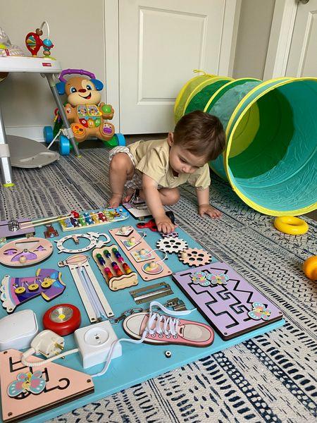 Busy board for toddler. First birthday present. Montessori toy.   #LTKfamily #LTKbaby #LTKkids