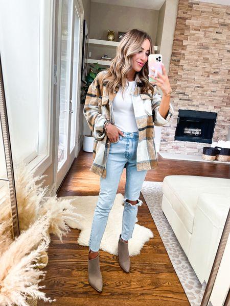 Plaid shacket smallest size, jeans size 24 short, bodysuit size Xs   #LTKunder50 #LTKunder100 #LTKsalealert
