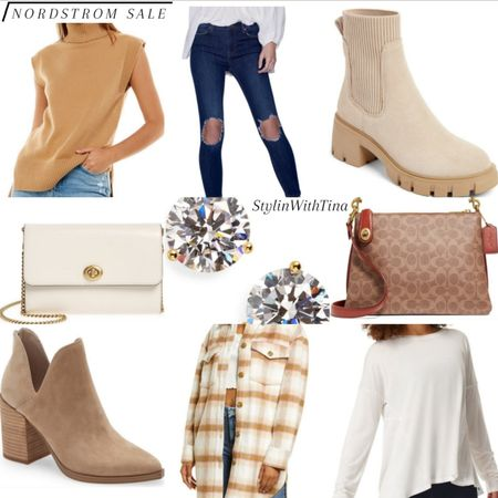 Nordstrom sale outfit ideas.  #seater#shacket#booties#plaidshacket #nordstromsale#earrings#coachbag #crossbodybag#denimjeans#ankleboots http://liketk.it/3jGo5 #LTKstyletip #LTKsalealert #LTKunder50 #LTKunder100 #LTKshoecrush #LTKworkwear #LTKtravel #LTKcurves #LTKfit #LTKitbag @liketoknow.it #liketkit
